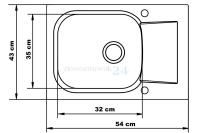 Wymiary zlewozmywaka do szafki 40 cm - Breva