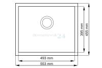 Zlewozmywak podblatowy granitowy Madera 56 - wielkość